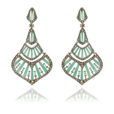 Flamenco 18ct White Gold 3.84 Diamond Jade Earrings