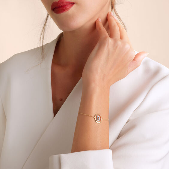 18ct Gold Diamond Initial D Bracelet | Annoushka jewelley