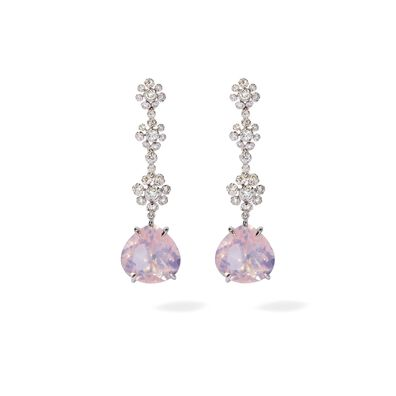 Marguerite 18ct White Gold Diamond Quartz Drop Earrings