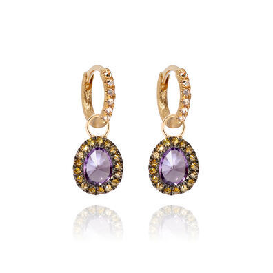 Dusty Diamonds 18ct Gold Small Amethyst Earrings