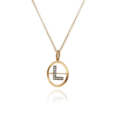 18ct Gold Diamond Initial L Necklace
