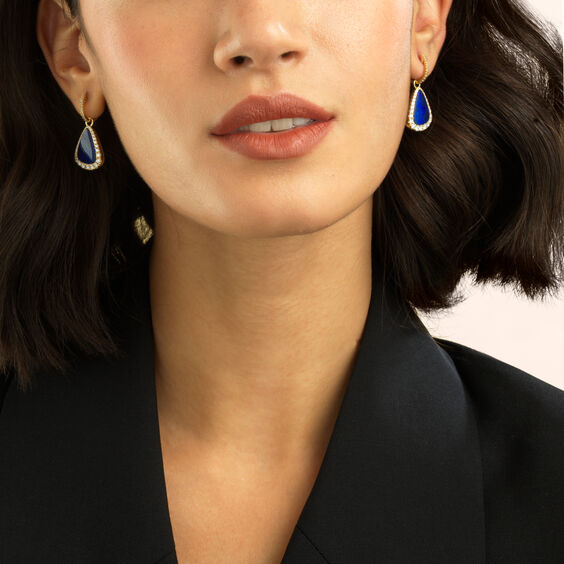 Unique 18ct Gold Opal Diamond Earring Drops
