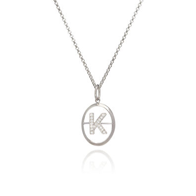 18ct White Gold Diamond Initial K Necklace