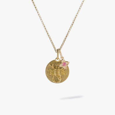 Gold Scorpio & Tourmaline October Birthstone Necklace