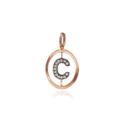 18ct Rose Gold Initial C Pendant