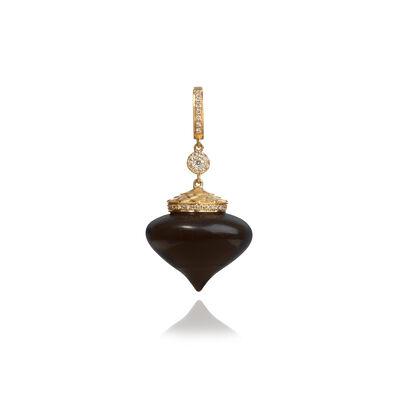 Touch Wood 18ct Gold Diamond Large Ebony Charm