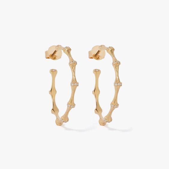 Bamboo 18ct Gold Diamond Hoop Earrings   Annoushka jewelley