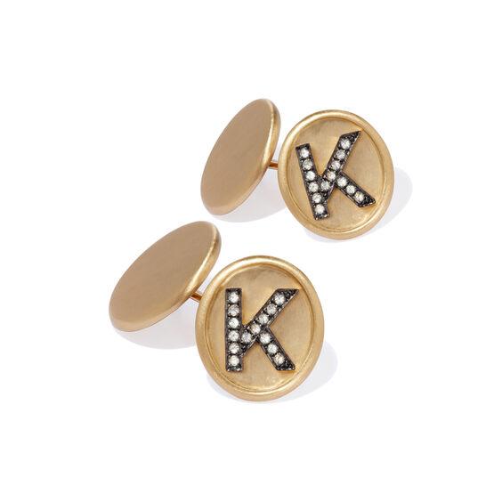18ct Satin Gold Diamond Initial K Cufflinks | Annoushka jewelley