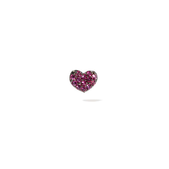 Love Diamonds 18ct White Gold Ruby Single Heart Stud Earring