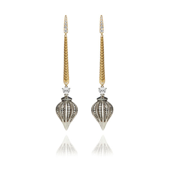Touch Wood 18ct Gold Diamond Drop Earrings   Annoushka jewelley