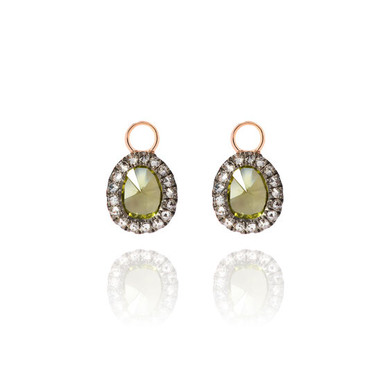 Dusty Diamonds 18ct Rose Gold Peridot Mini Earring Drops | Annoushka jewelley