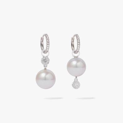 18ct White Gold Diamonds & White Pearl Drop Earrings
