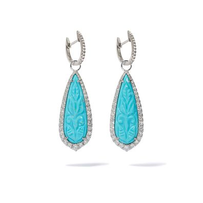 Unique 18ct White Gold Turquoise Earrings