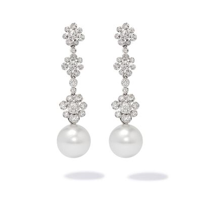 Marguerite 18ct White Gold Pearl Drop Earrings