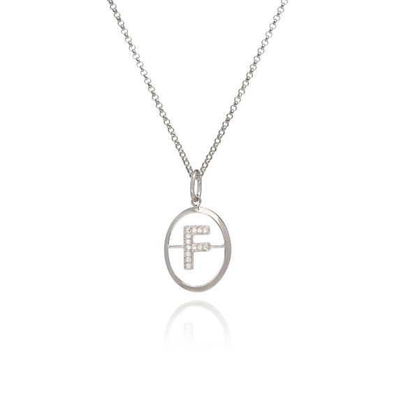 18ct White Gold Diamond Initial F Necklace   Annoushka jewelley