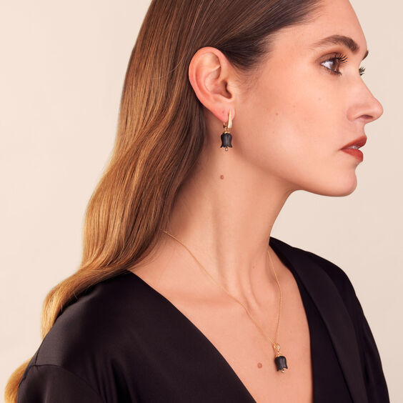 18ct Gold Ebony Diamond Tulip Earring Drops
