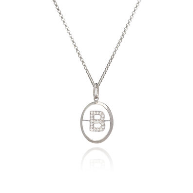 18ct White Gold Diamond Initial B Necklace