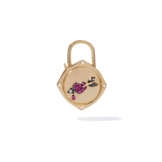 Lovelock 18ct Gold Sapphire Diamond Heart & Arrow Charm | Annoushka jewelley