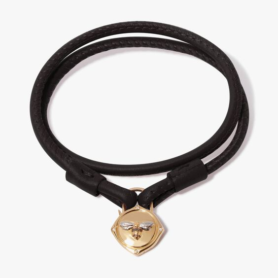 Lovelock 18ct Gold 41cms Black Leather Bee Charm Bracelet