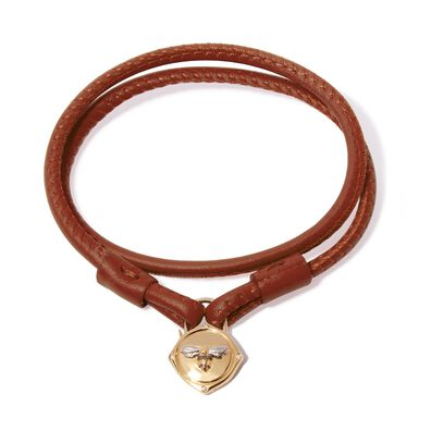 Lovelock 18ct Gold 41cms Brown Leather Bee Charm Bracelet