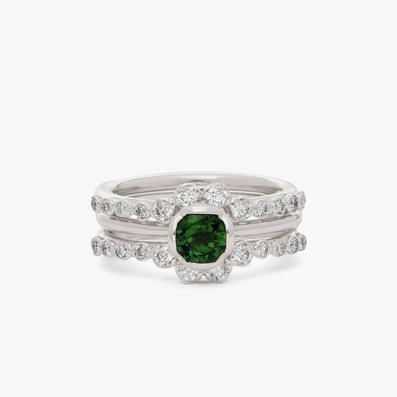 18ct Green Tourmaline & Diamond Engagement Jacket Ring