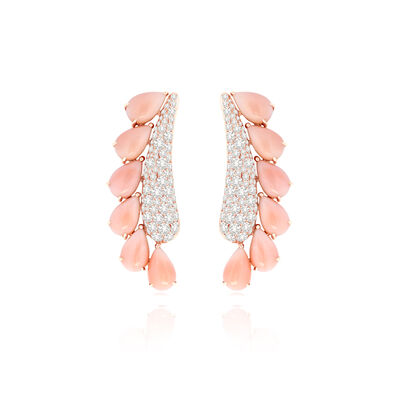 Sutra Coral & Diamond Earrings