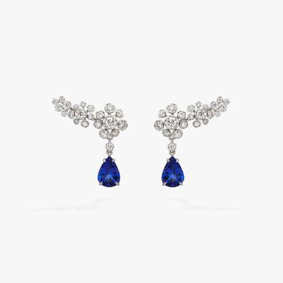 Marguerite Diamond & Tanzanite Ear Pins