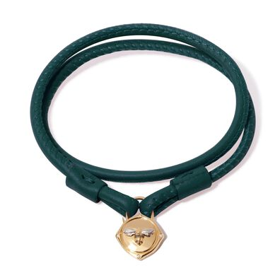 Lovelock 18ct Gold 41cms Green Leather Bee Charm Bracelet