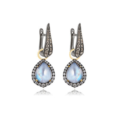 18ct Gold Moonstone Diamond Earrings