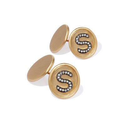 18ct Satin Gold Diamond Initial S Cufflinks