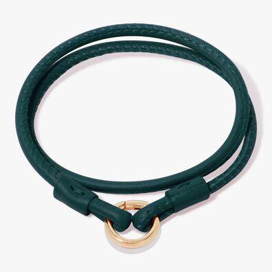 14ct Gold Lovelink 41cms Green Leather Bracelet