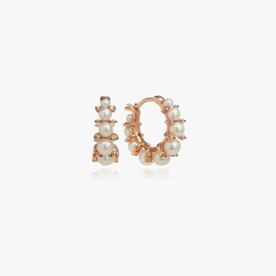 Diamonds & Pearls 18ct Rose Gold Hoops