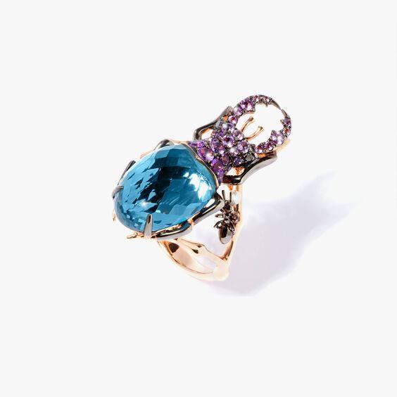 Mythology 18ct Rose Gold Topaz Beetle Ring | Annoushka jewelley