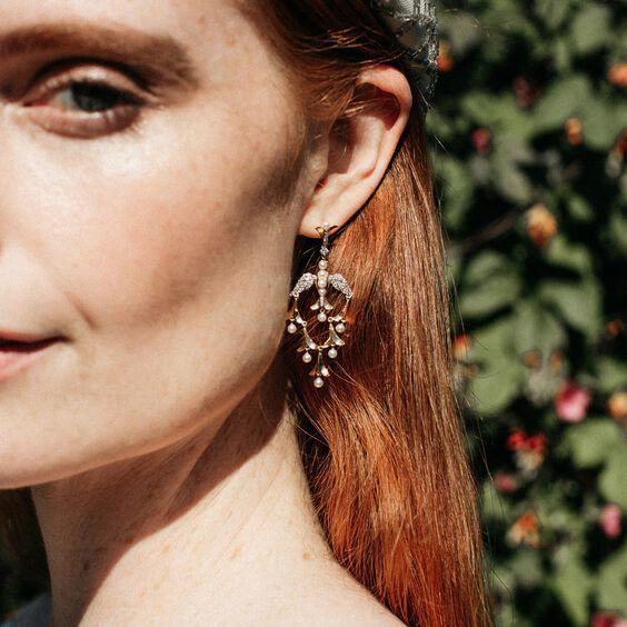 18ct Gold Pearl Diamond Lovebirds Chandelier Earrings