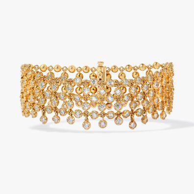 Lattice 18ct Gold Diamond Net Bracelet