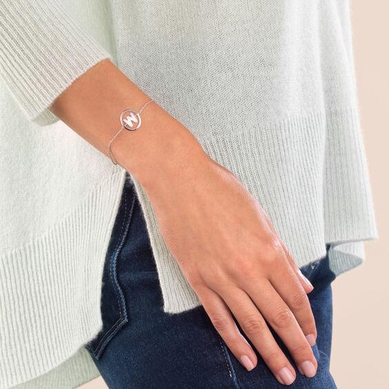 18ct White Gold Diamond Initial W Bracelet | Annoushka jewelley
