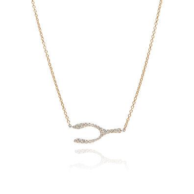 Love Diamonds 18ct Bi-Gold Diamond Wishbone Necklace