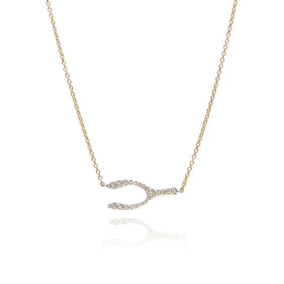 Love Diamonds 18ct Bi-Gold Diamond Wishbone Necklace | Annoushka jewelley