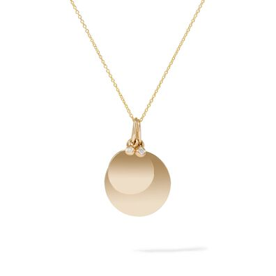 Tokens 14ct Gold Diamond Disc Necklace
