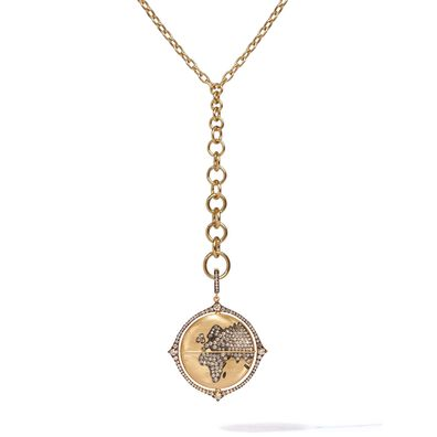 Mythology 18ct Gold Diamond Spinning Globe Necklace