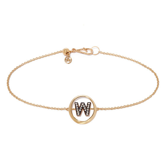 18ct Gold Diamond Initial W Bracelet