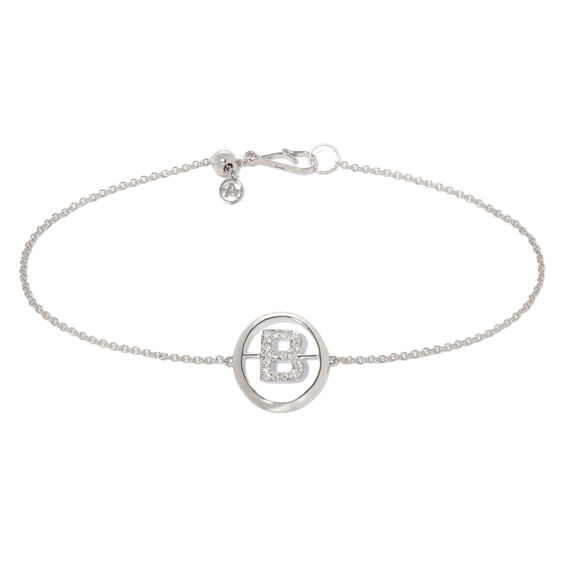 18ct White Gold Diamond Initial B Bracelet | Annoushka jewelley