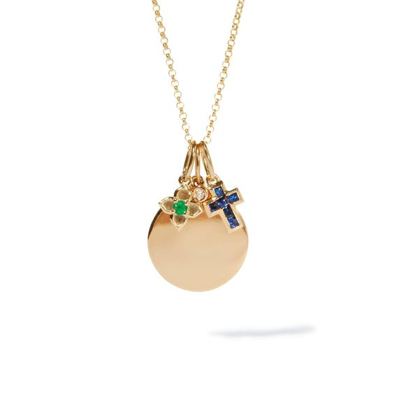 Tokens 14ct Gold Diamond Disc Necklace | Annoushka jewelley