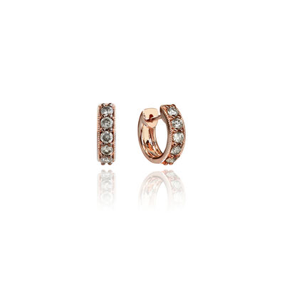 Dusty Diamonds 18ct Rose Gold Diamond Hoop Earrings