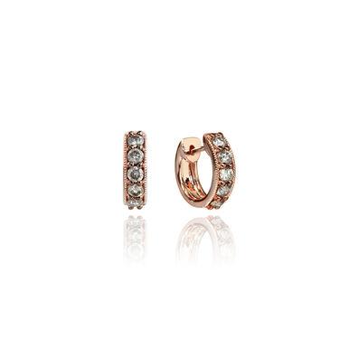 Dusty Diamonds 18ct Rose Gold Diamond Hoop Earrings