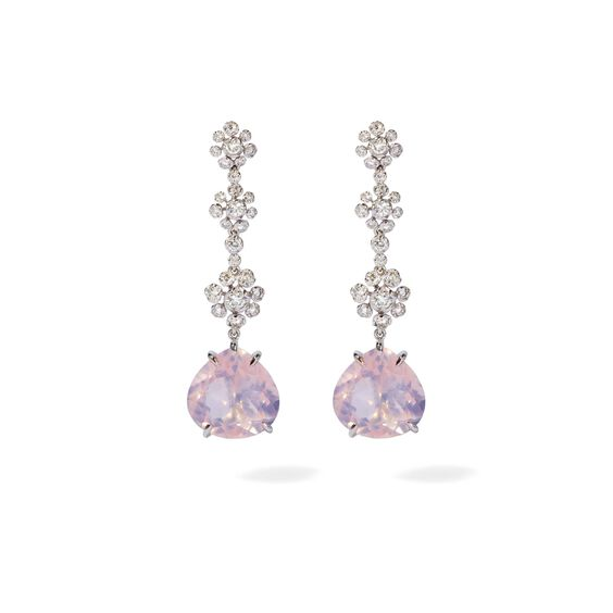 Marguerite 18ct White Gold Diamond Quartz Drop Earrings | Annoushka jewelley