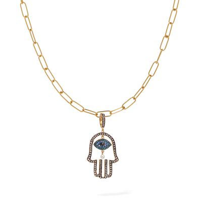14ct Gold Hand of Fatima Charm Necklace