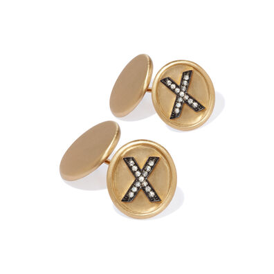 18ct Satin Gold Diamond Initial X Cufflinks