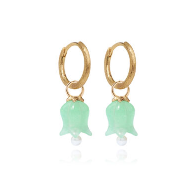 18ct Gold Jade Tulip Earrings