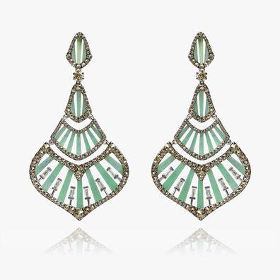 Flamenco 18ct White Gold 3.84 Diamond Jade Earrings